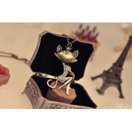 Ogrlica Mačka s kristalčki