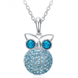 Ogrlica Owl Star Aquamarine (Made with Swarovski Elements)