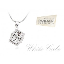 Ogrlica White Cube (Made with Swarovski Elements)